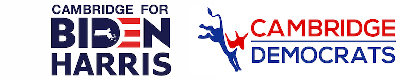 Combined Logos of Cambridge for Biden/Harris and the Cambridge Democrats